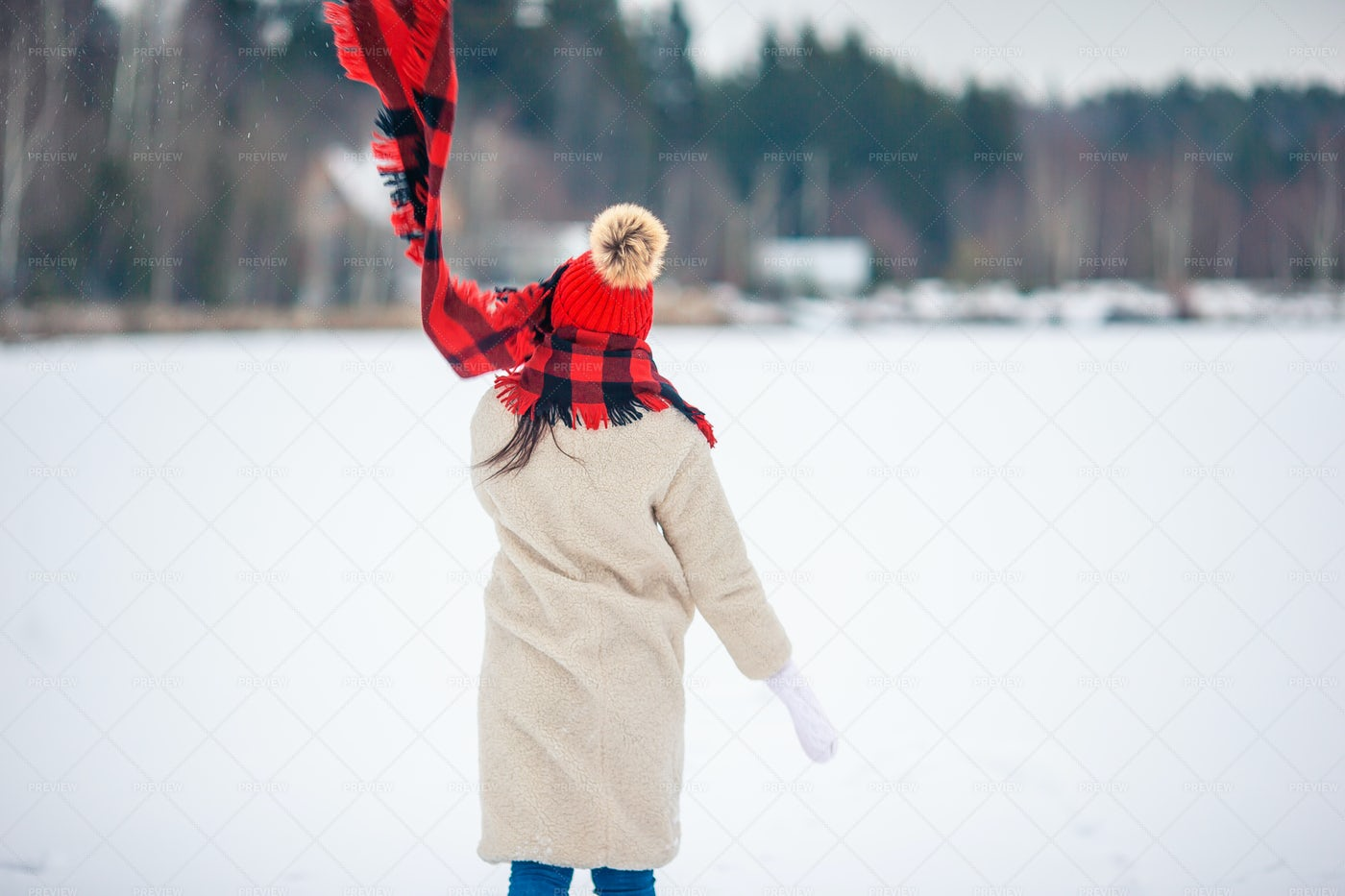 Woman In Snow Day Outdoors At The Forest: Stock Photos
