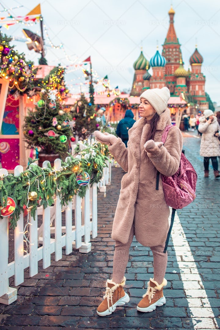 Christmas Market In Red Square: Stock Photos