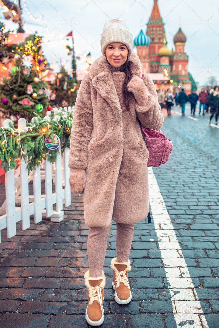 Woman In Red Square: Stock Photos