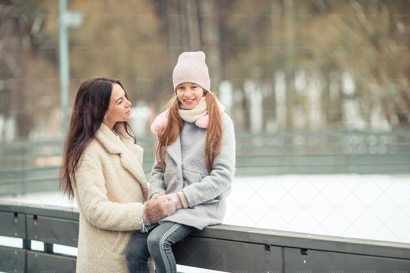 At Skating Rink With Mom: Stock Photos