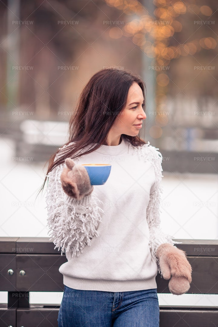 Drinking Coffee In Winter: Stock Photos