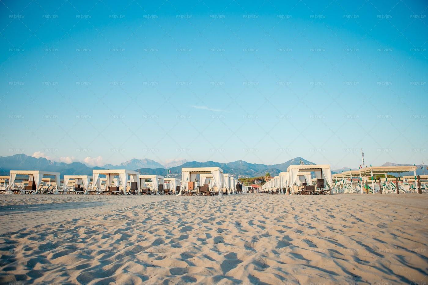 Sandy Beach On Tuscan Coastline: Stock Photos