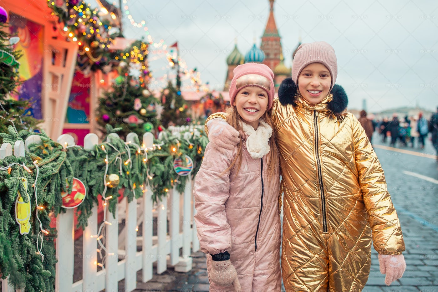 Two Happy Girls In Moscow's Red Square: Stock Photos