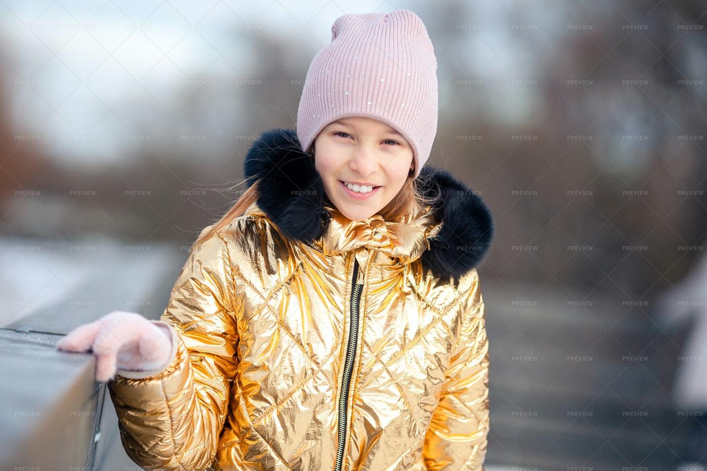 Adorable Little Girl On A Winter's Day: Stock Photos
