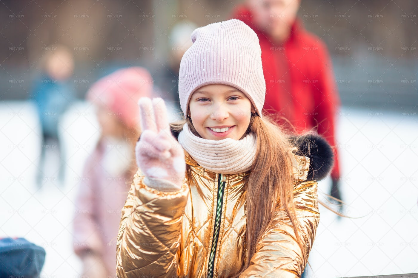 Peace Sign On Ice Rink: Stock Photos