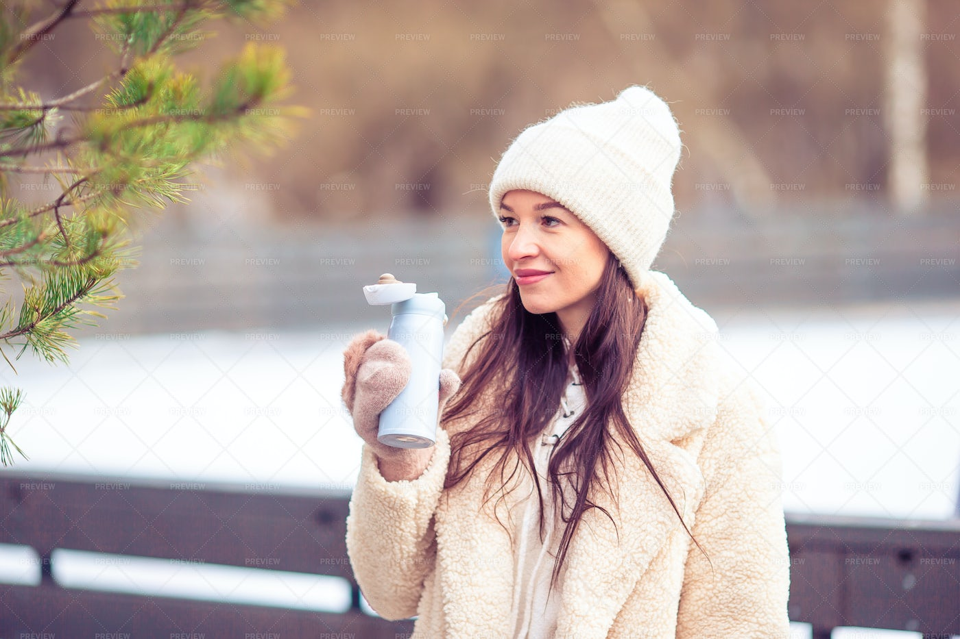 Woman Smiling In A Cold Weather: Stock Photos