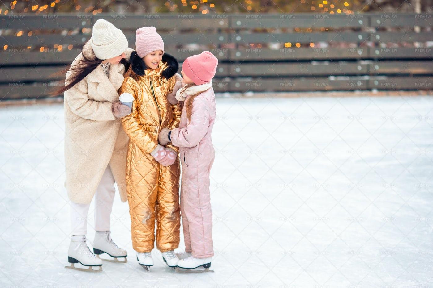 Family On An Ice-Rink: Stock Photos
