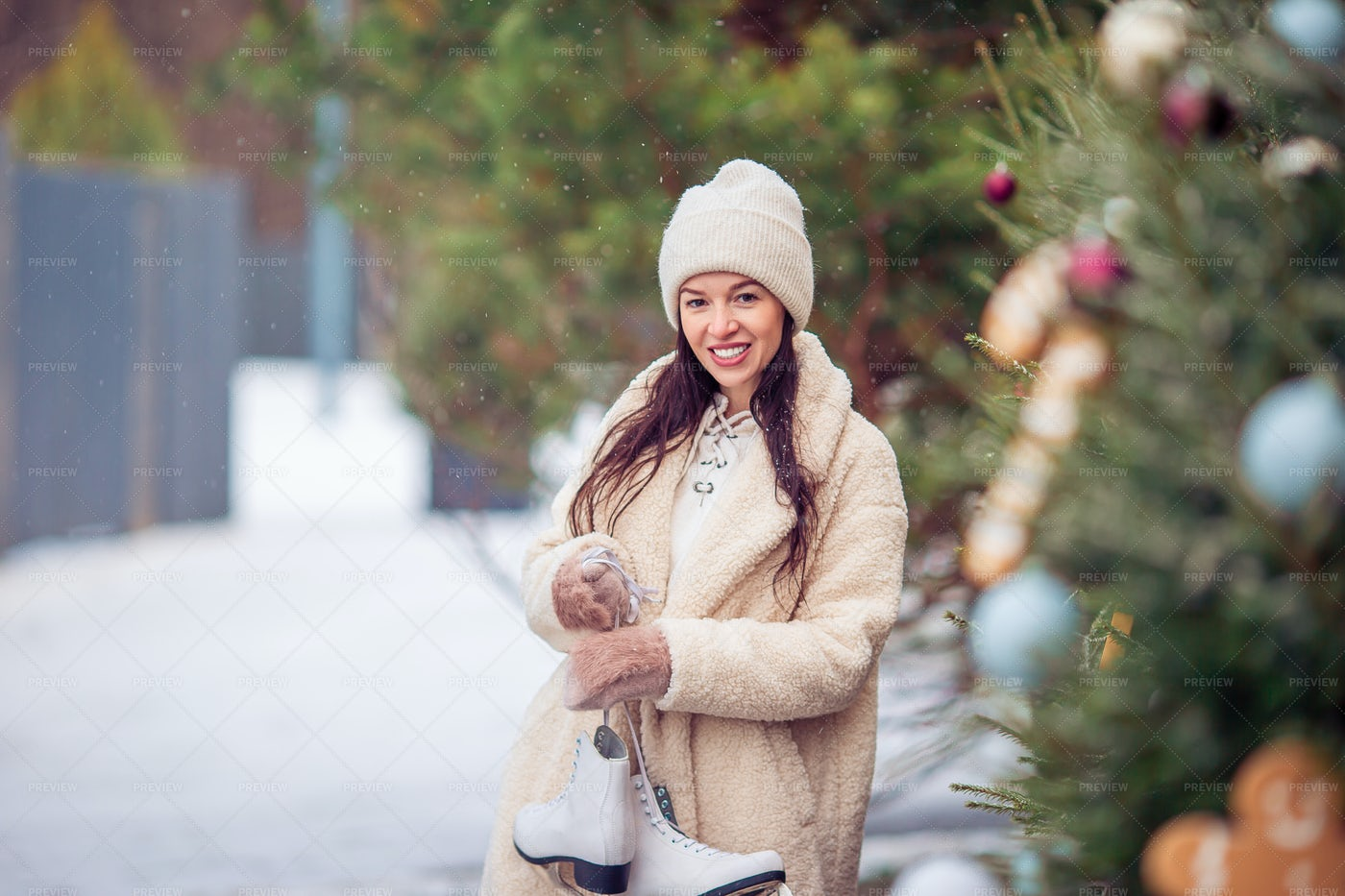 Woman By The Rink: Stock Photos