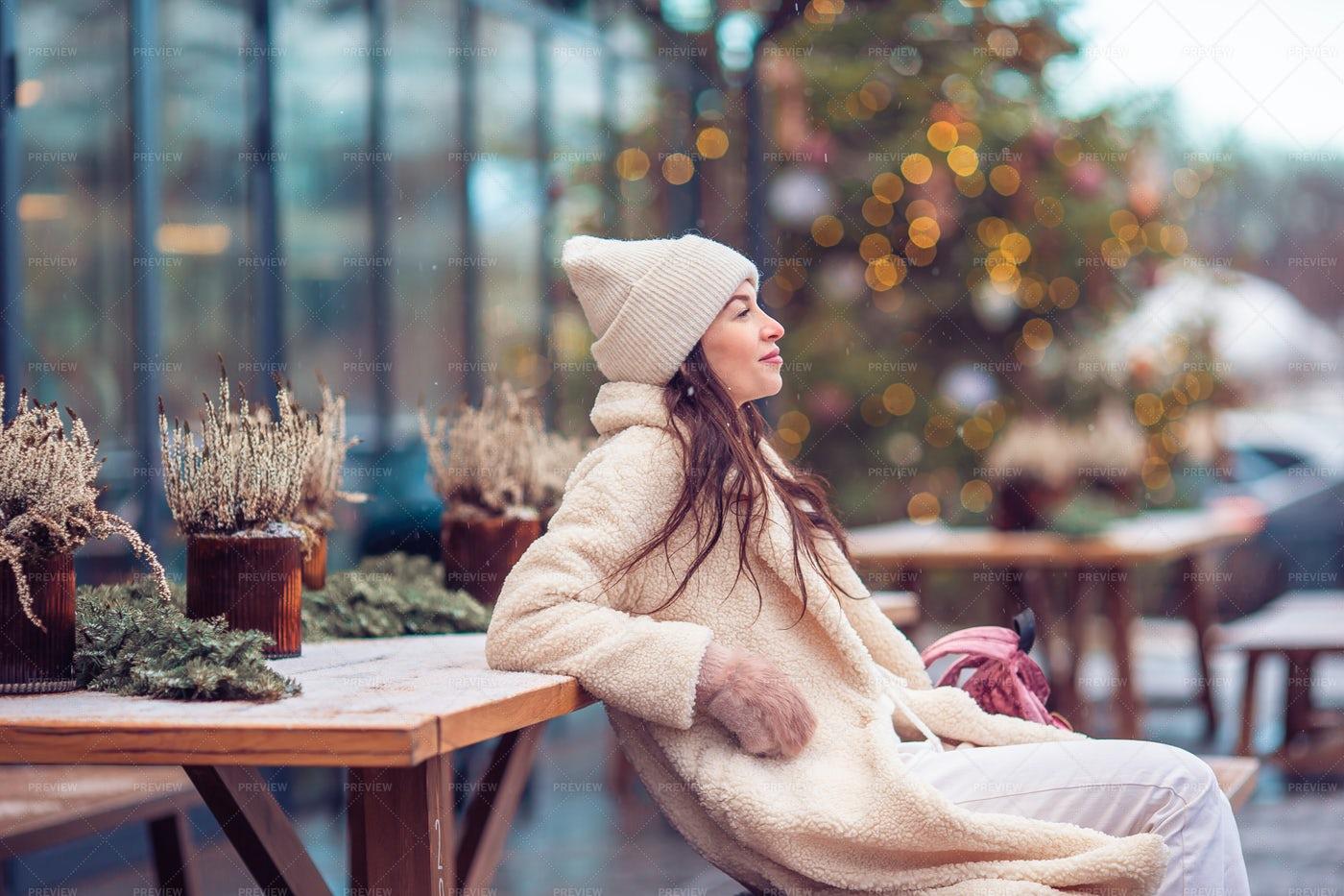 Sat At The Winter Cafe: Stock Photos