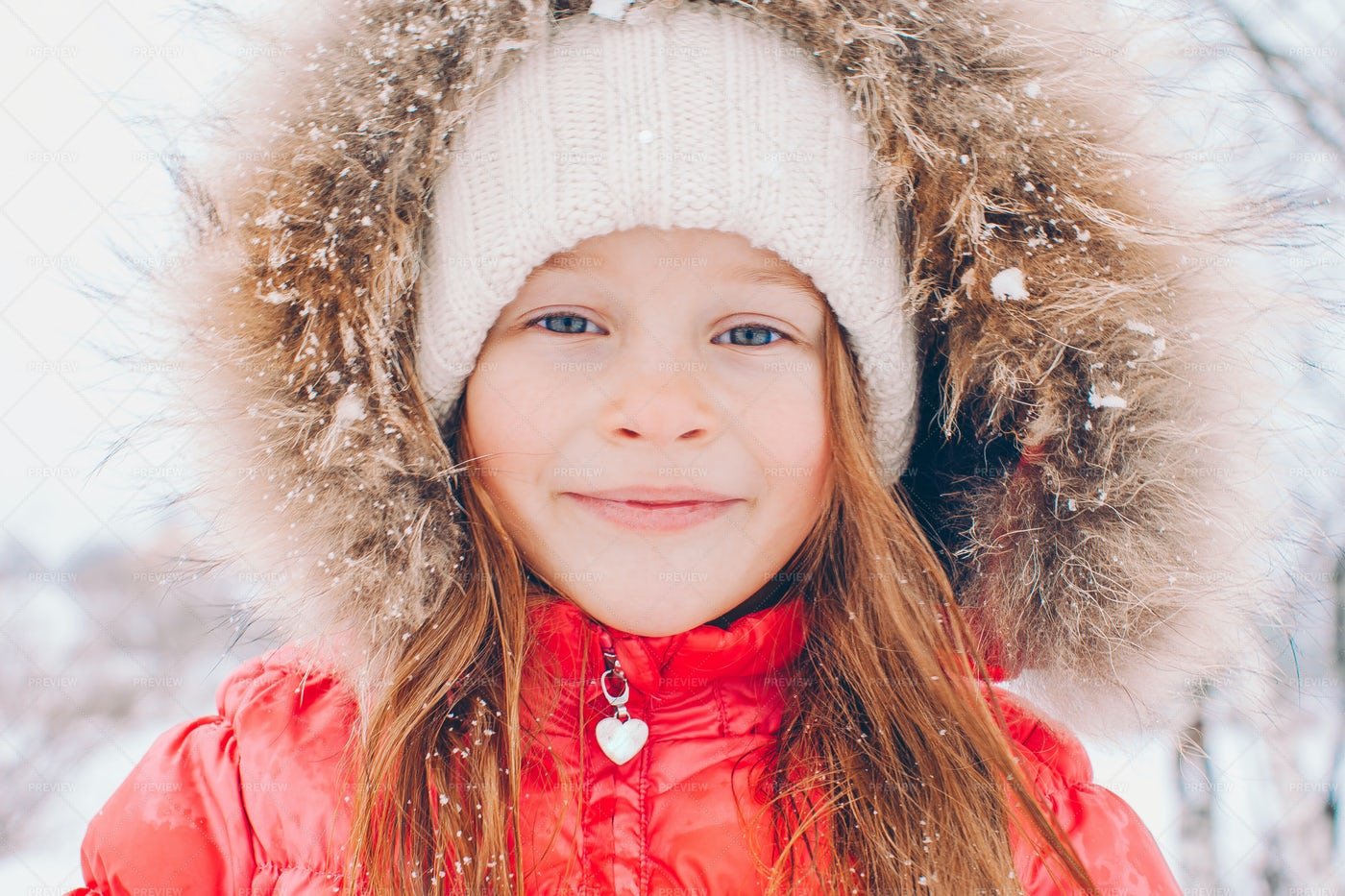 Girl In Red Puffy Coat: Stock Photos