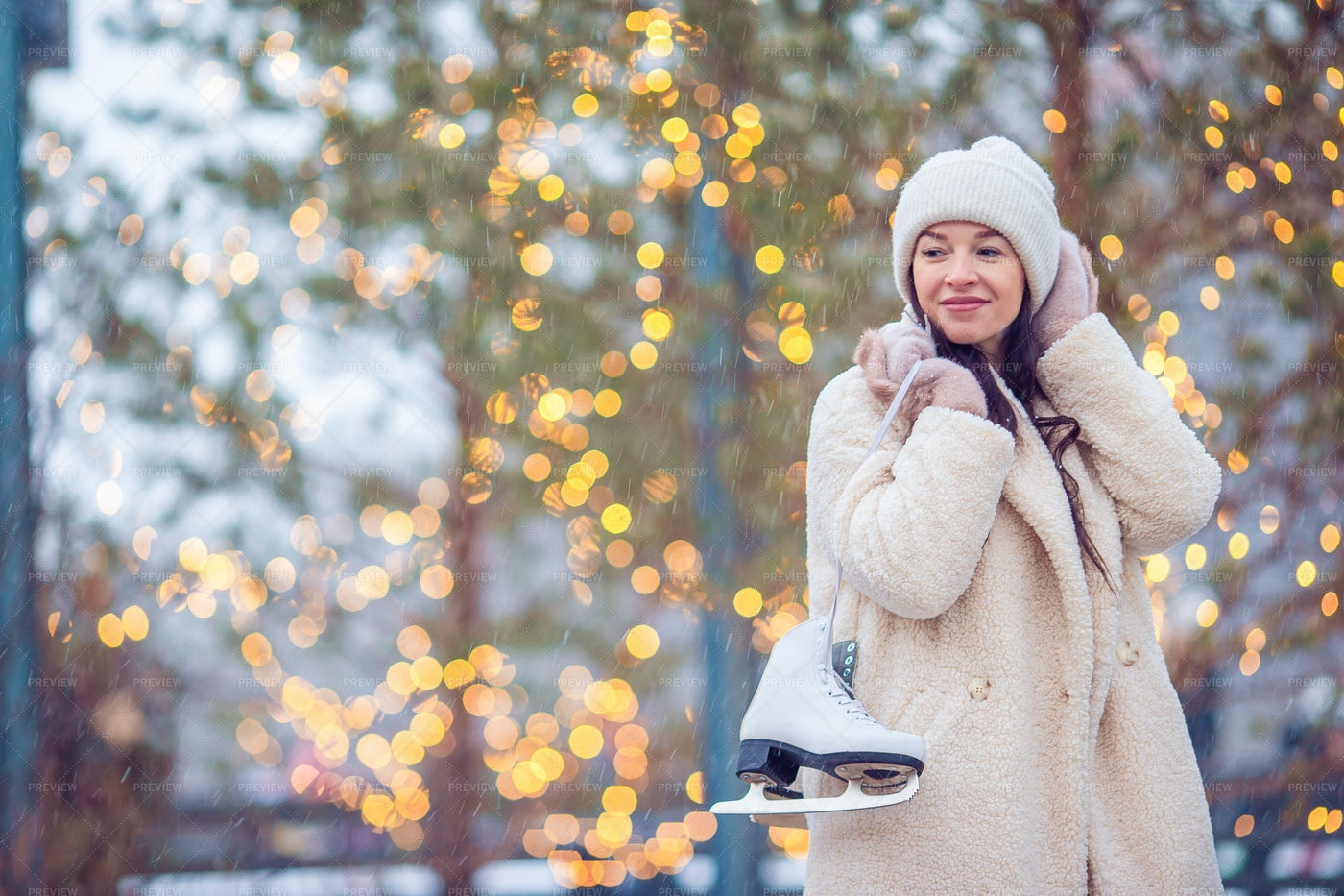 Woman With Ice Skates Outside: Stock Photos