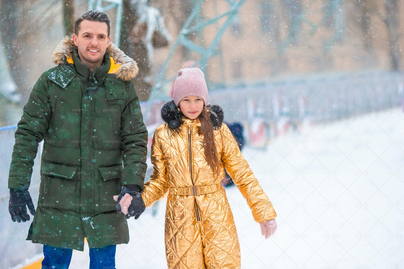 Dad And Daughter In Cold Winter: Stock Photos