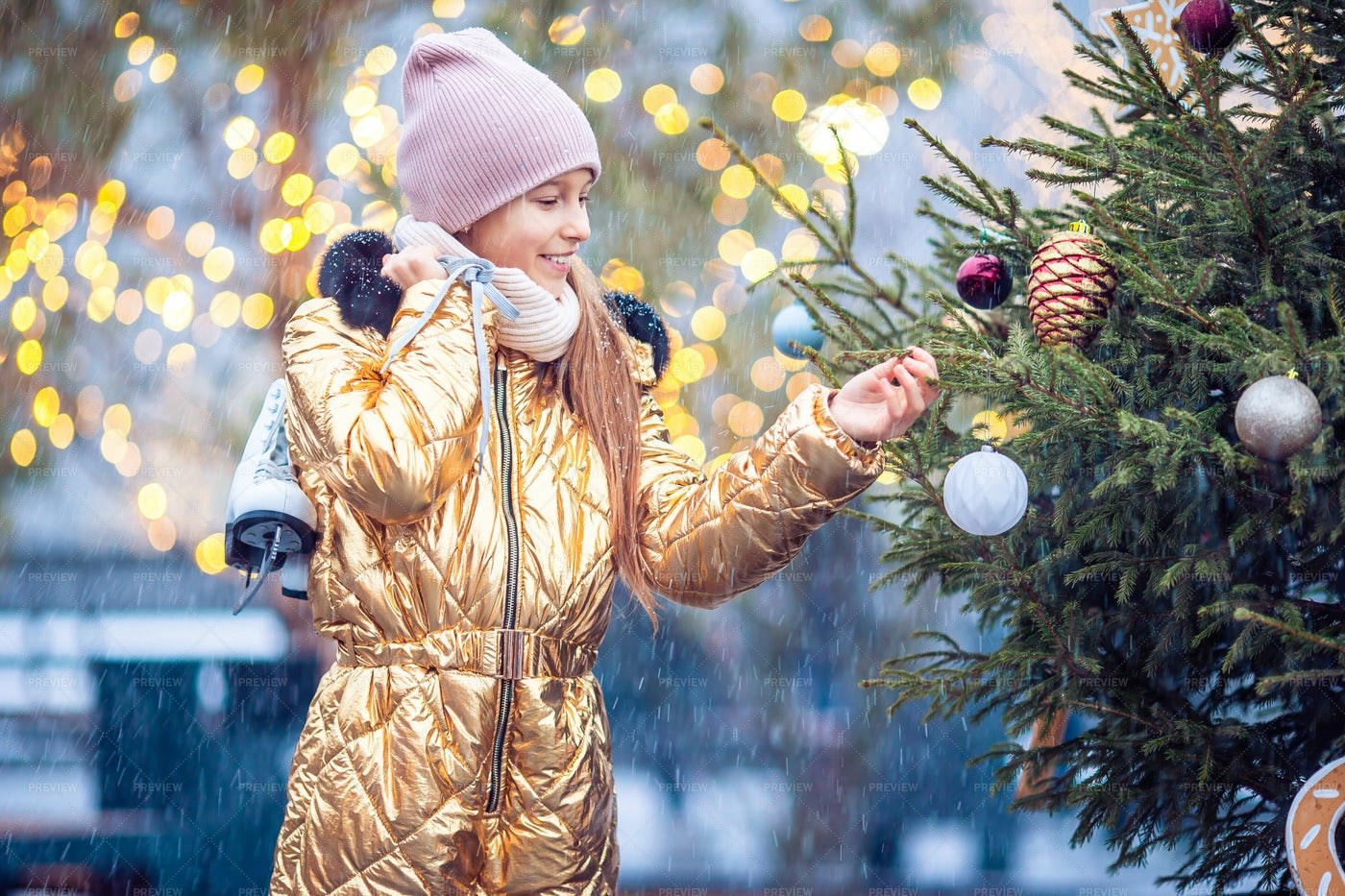 Looking At Christmas Decor Outside: Stock Photos