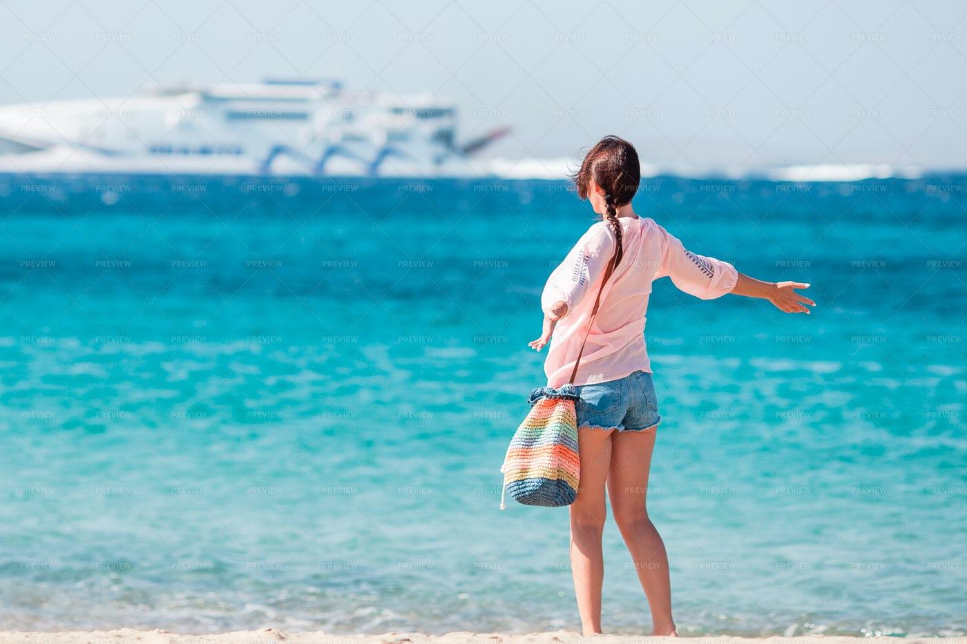 Woman On Tropical Beach: Stock Photos
