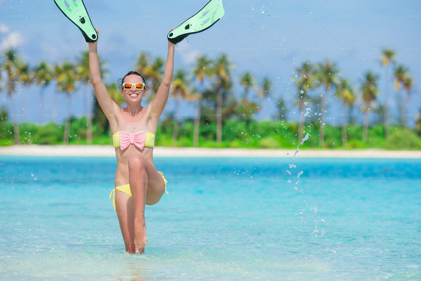 Woman With Snorkeling Equipment: Stock Photos