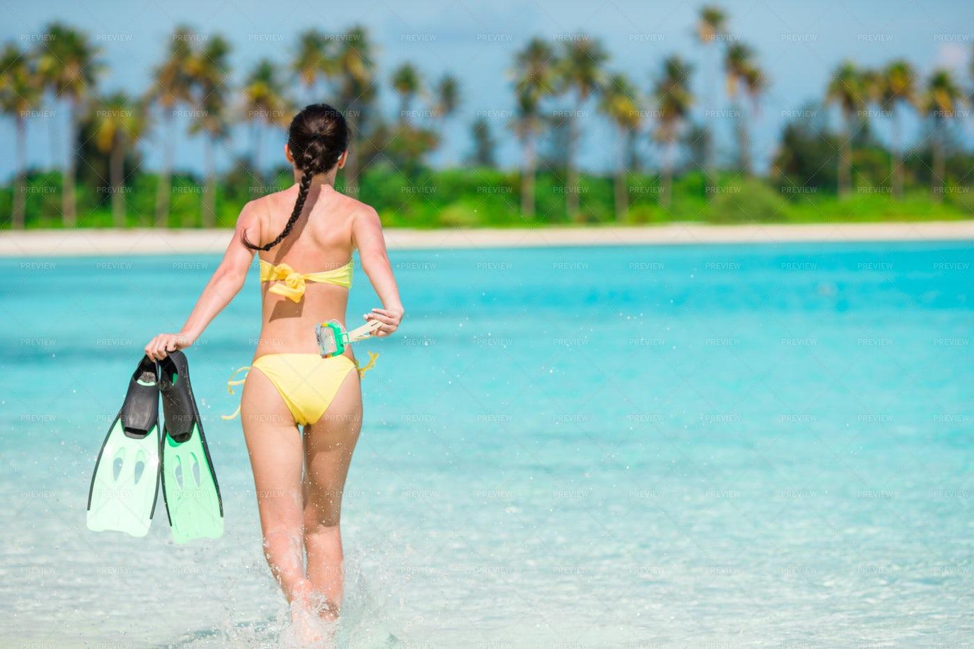 Girl With Snorkel Equipment: Stock Photos