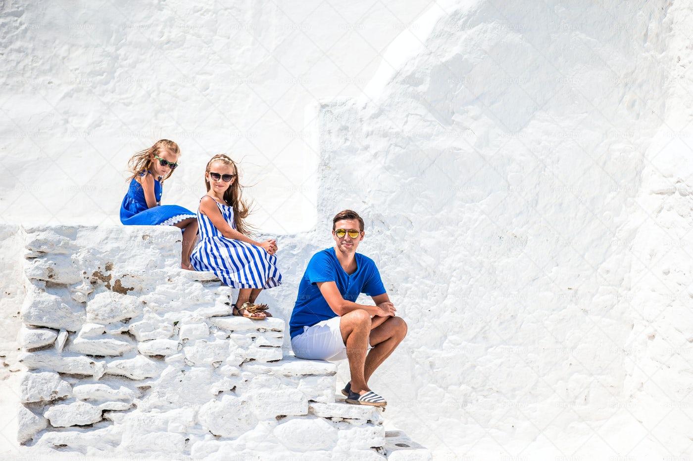 Sitting On Steps In Mykonos: Stock Photos