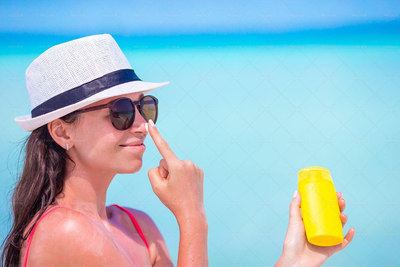 Sunblock On The Nose: Stock Photos