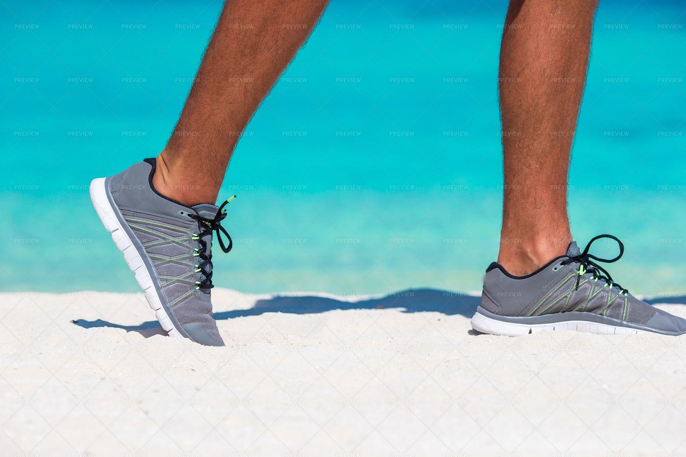 Man Runs On Beach: Stock Photos