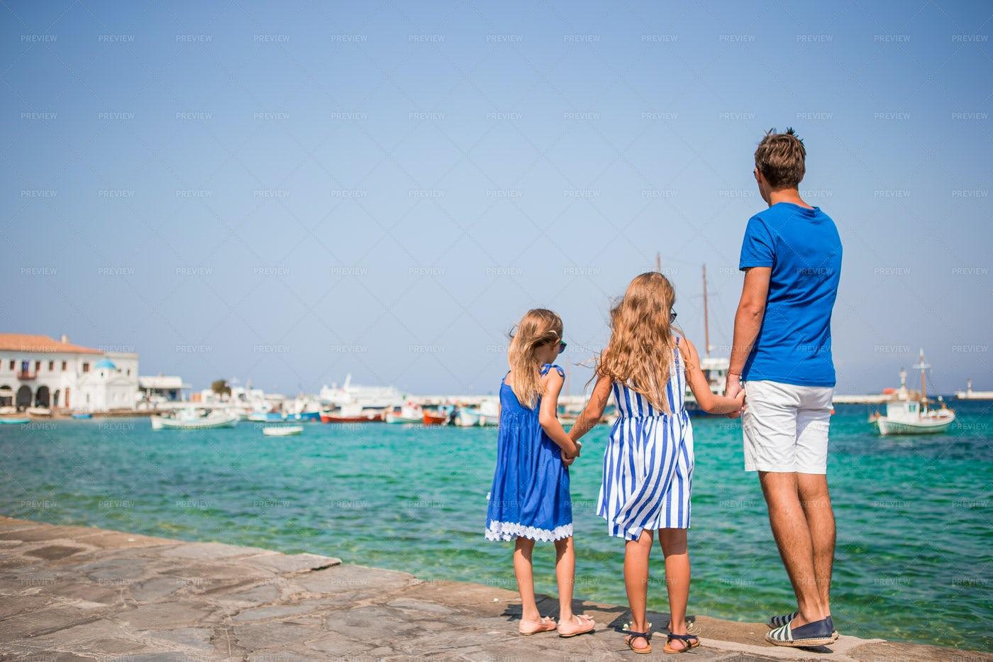 Family In Mykonos: Stock Photos