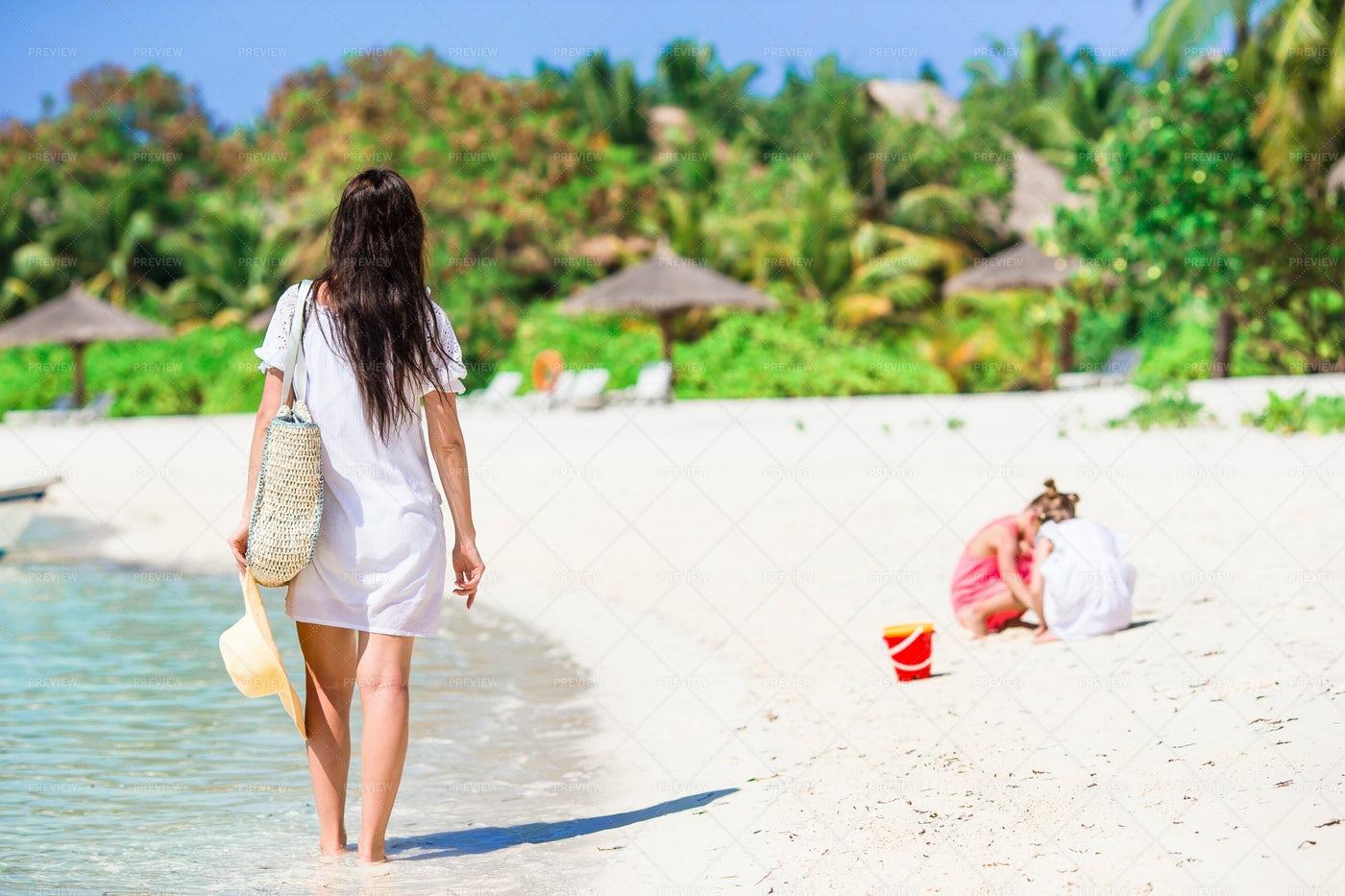 Walking On The Seashore: Stock Photos