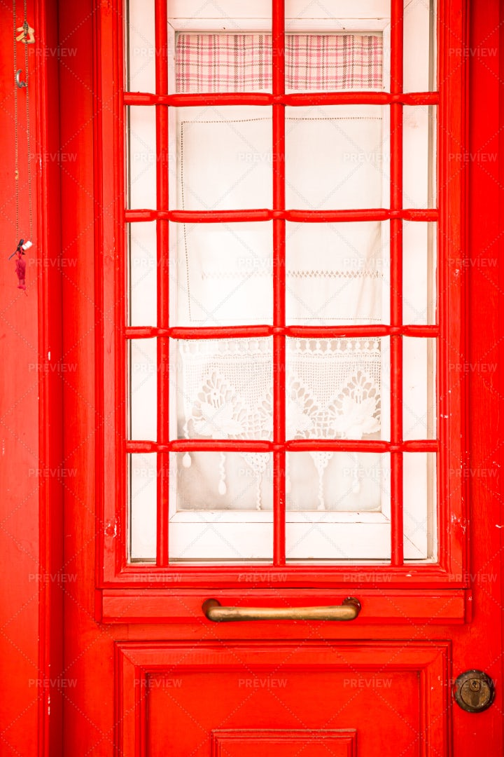 Colorful Red Door: Stock Photos