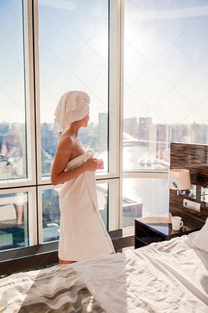Woman In White Bath Towel: Stock Photos