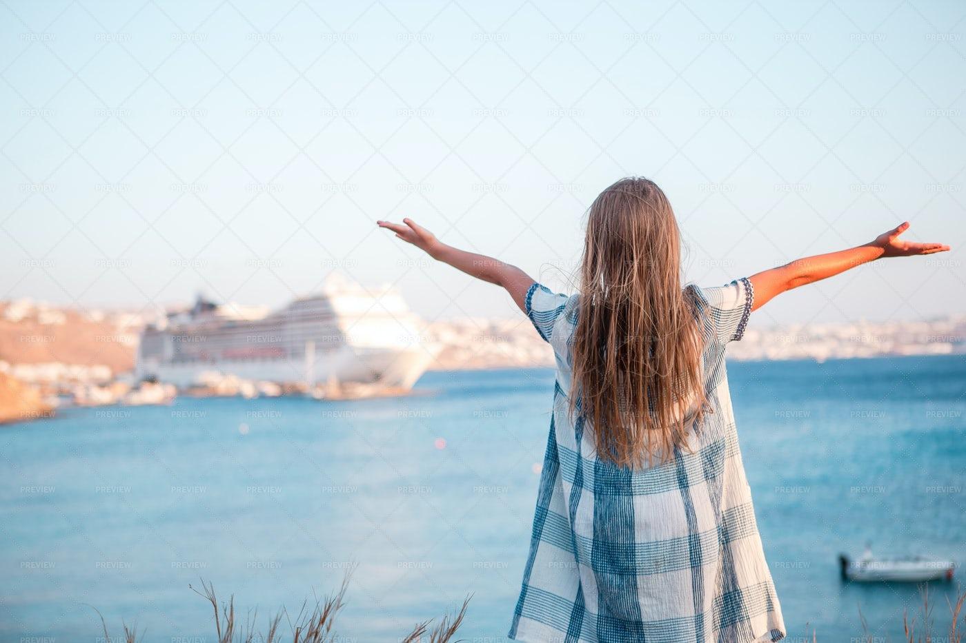 Girl Looking At The Sea: Stock Photos