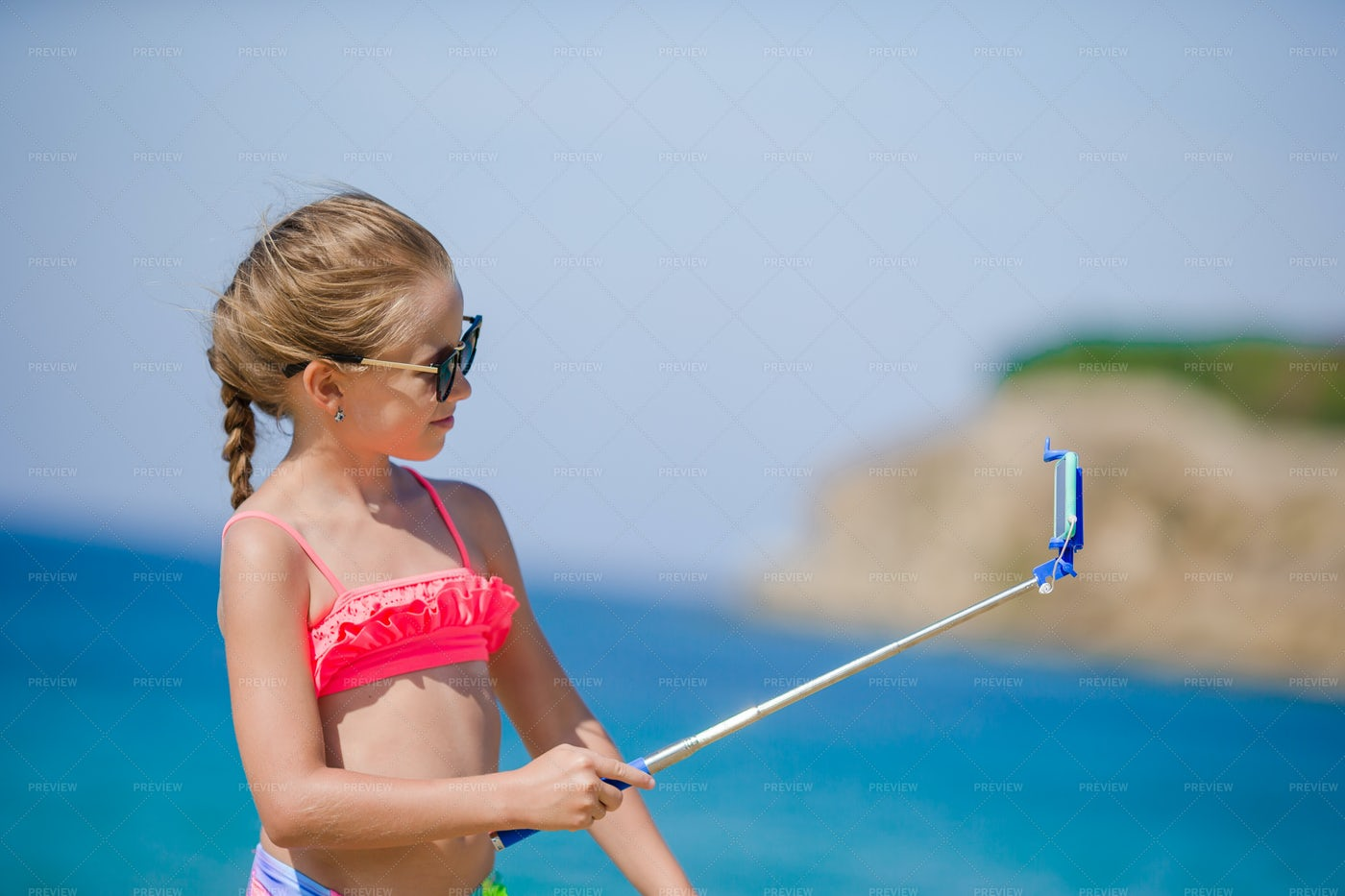 Taking A Selfie On The Beach: Stock Photos