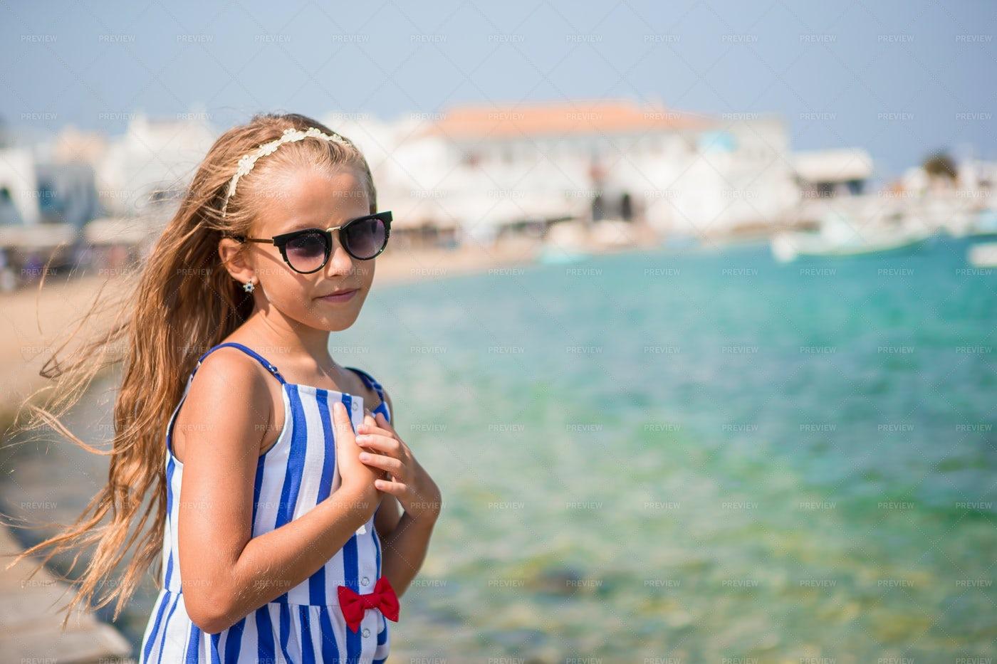 Girl Next To The Sea: Stock Photos
