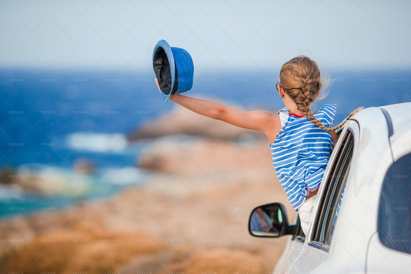Child Enjoying Road Trip: Stock Photos