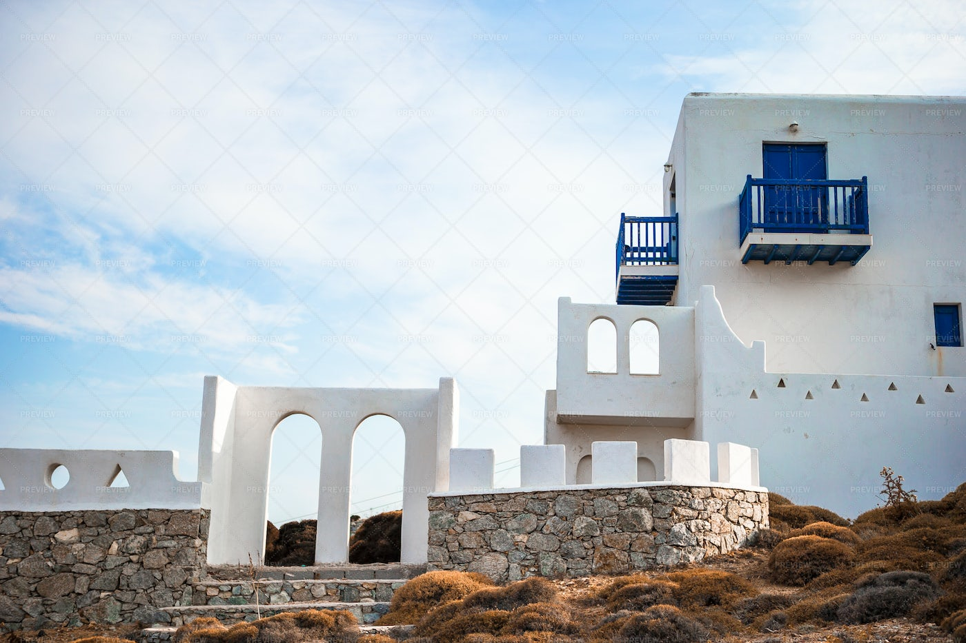 Traditional Cycladic Style Home: Stock Photos