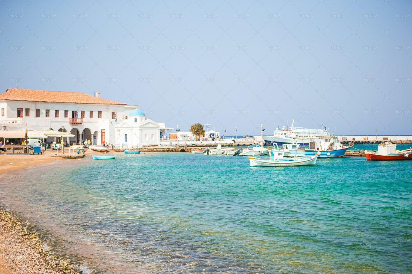Boats On Greek Coastline: Stock Photos