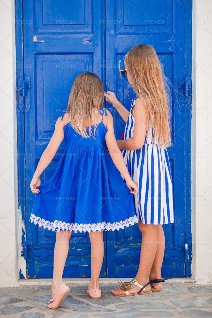 In Front Of Blue Door: Stock Photos