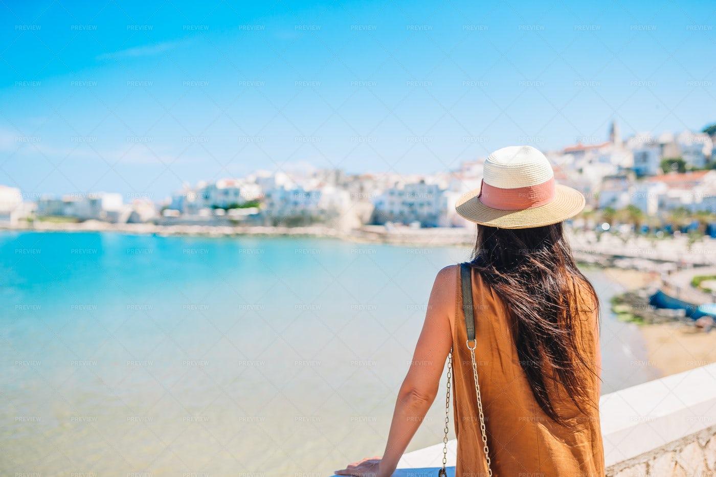 Woman Admiring Greek Coast: Stock Photos