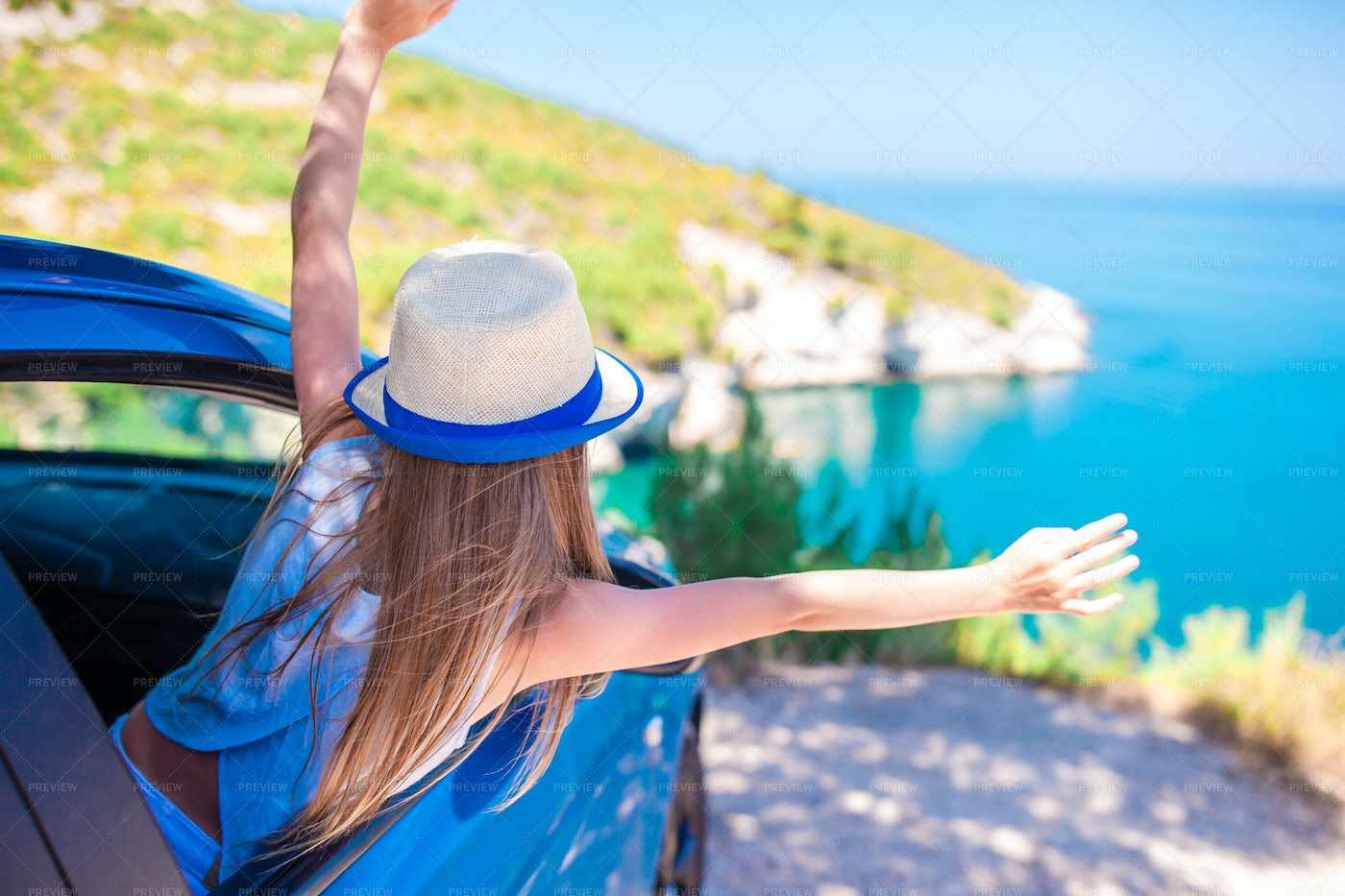 Girl On Vacation Traveling By Car: Stock Photos