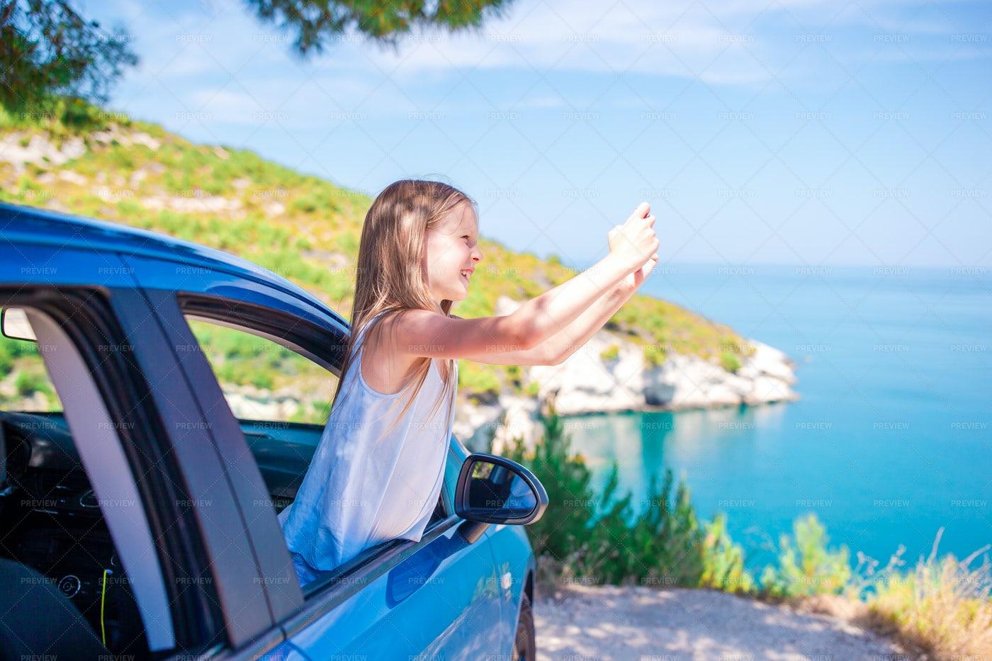 Taking Travel Photos From Car: Stock Photos