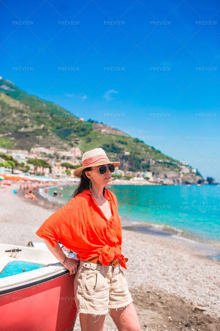 Woman On Amalfi Beach: Stock Photos