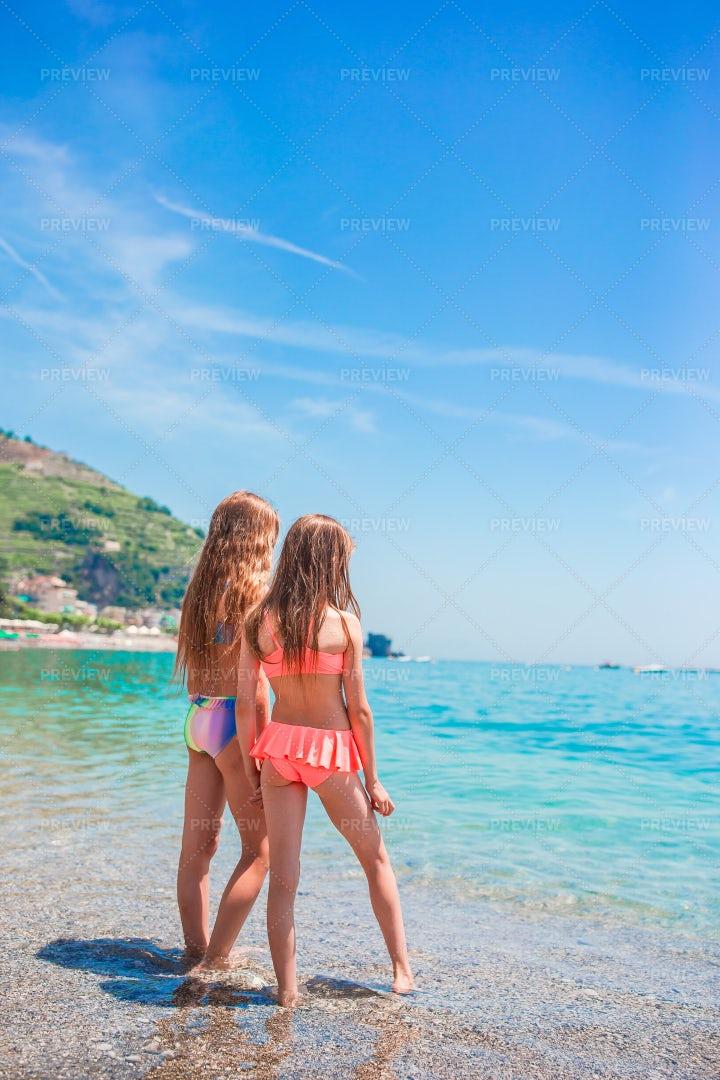 Childhood Friends On The Beach: Stock Photos