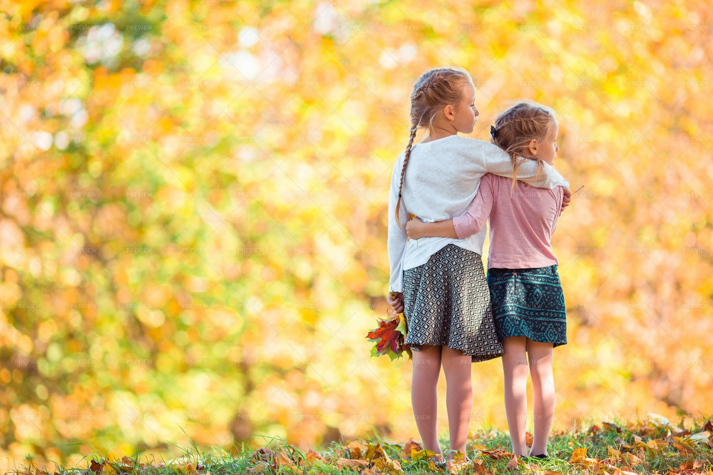 Sisters During Autumn: Stock Photos