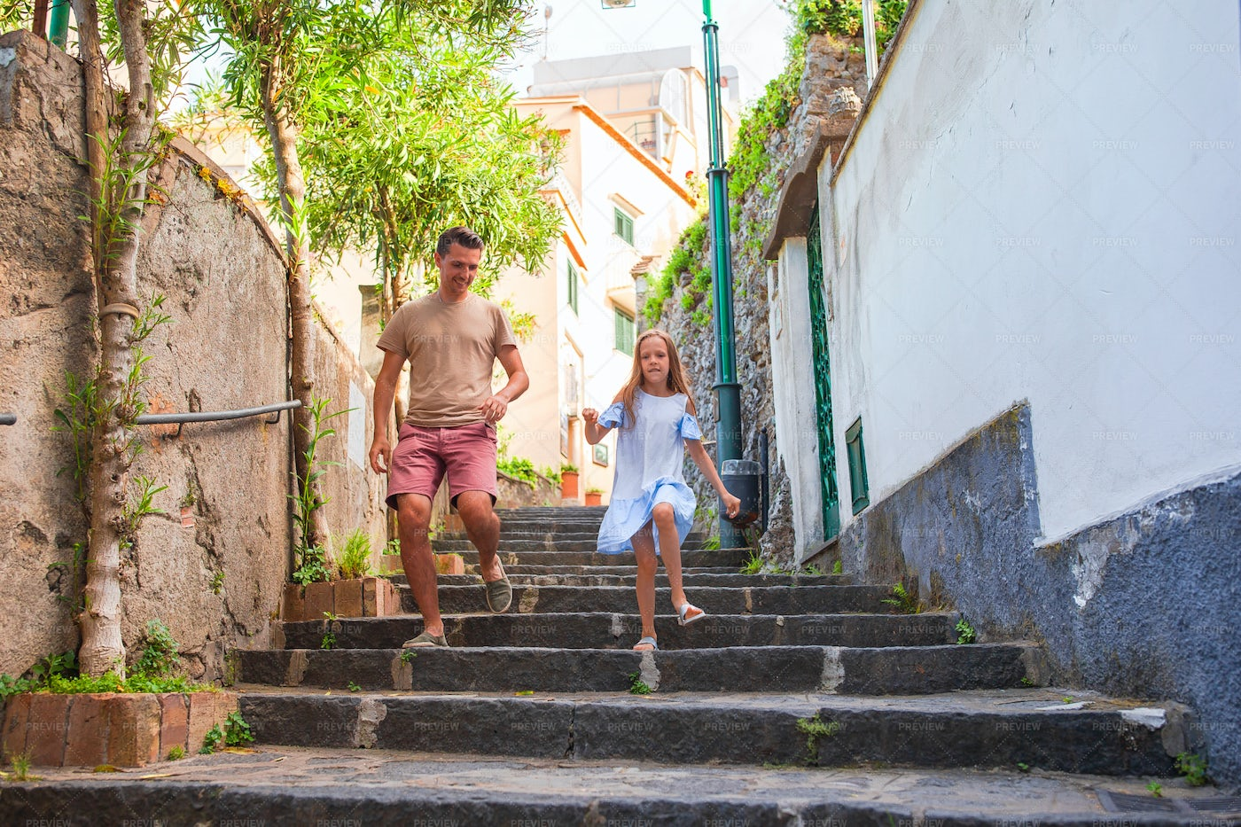 Running Down Steps In Greece: Stock Photos