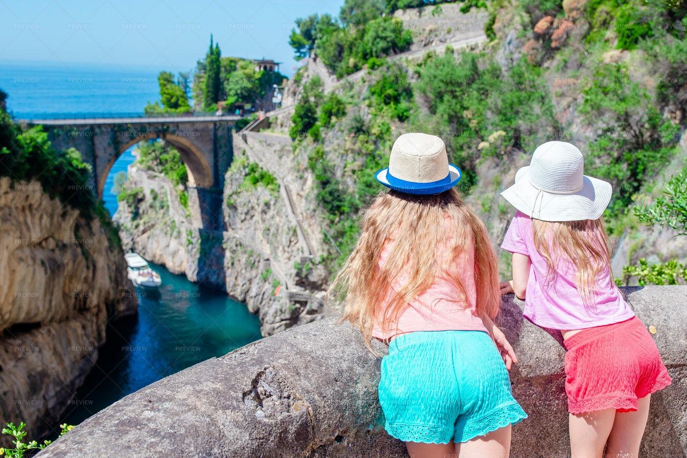 Sisters Visit Fiordo Di Furore: Stock Photos