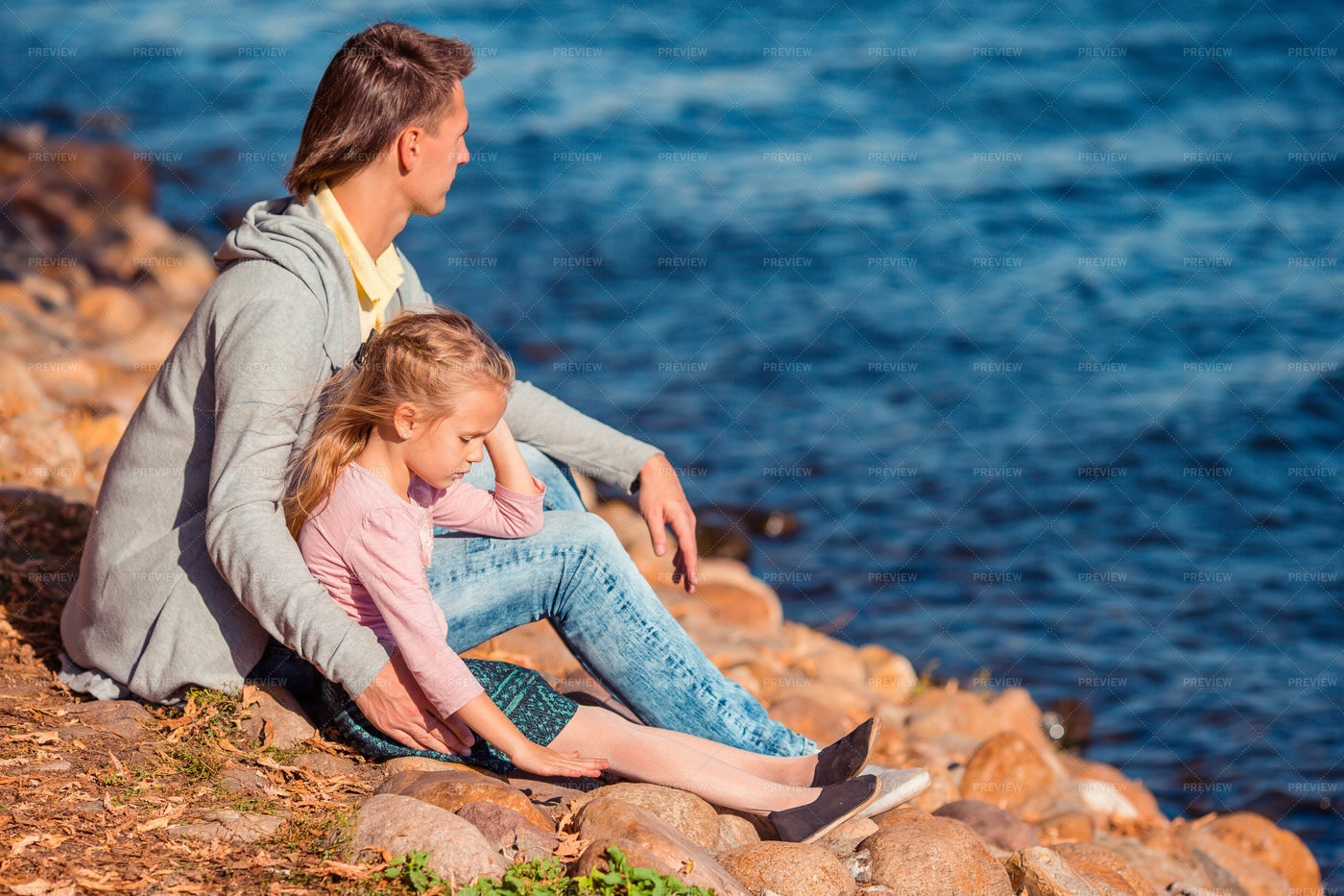 Family By The Sea: Stock Photos