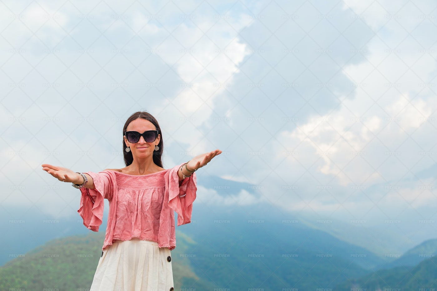 Happy Woman In The Top Of A Hill: Stock Photos
