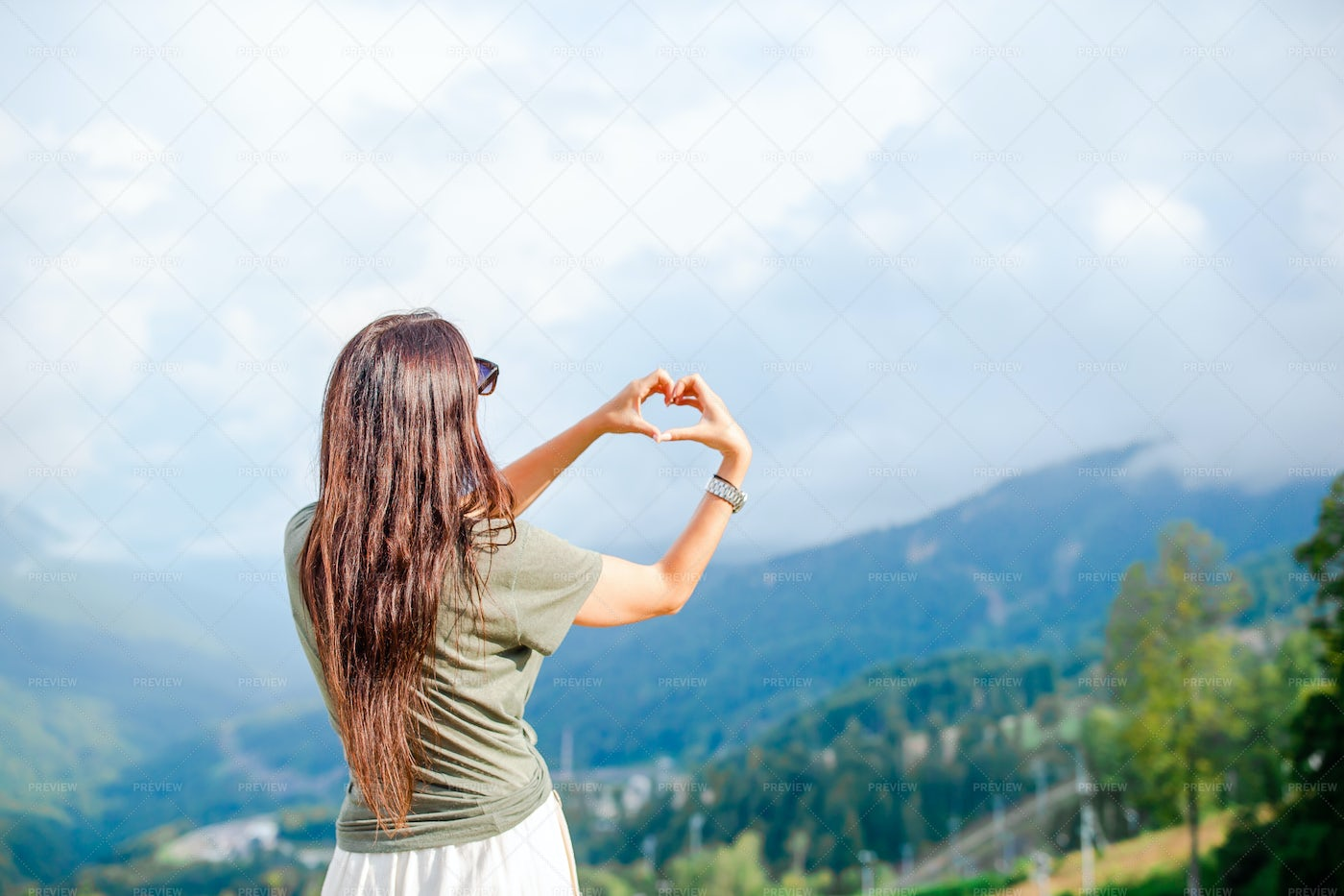 Making A Heart Shape In The Mountains: Stock Photos