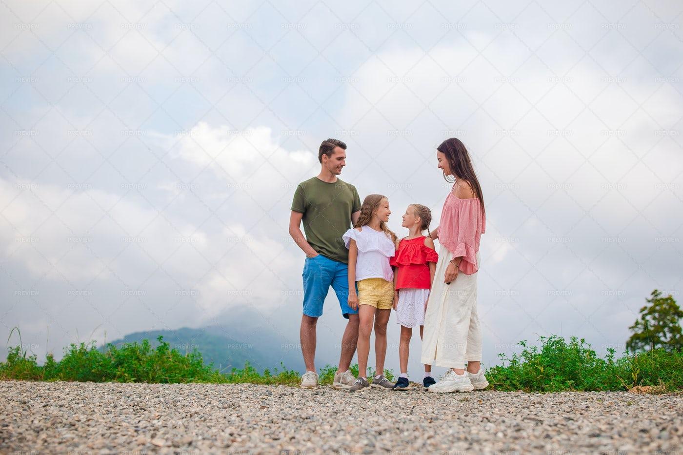 Family On The Peak: Stock Photos