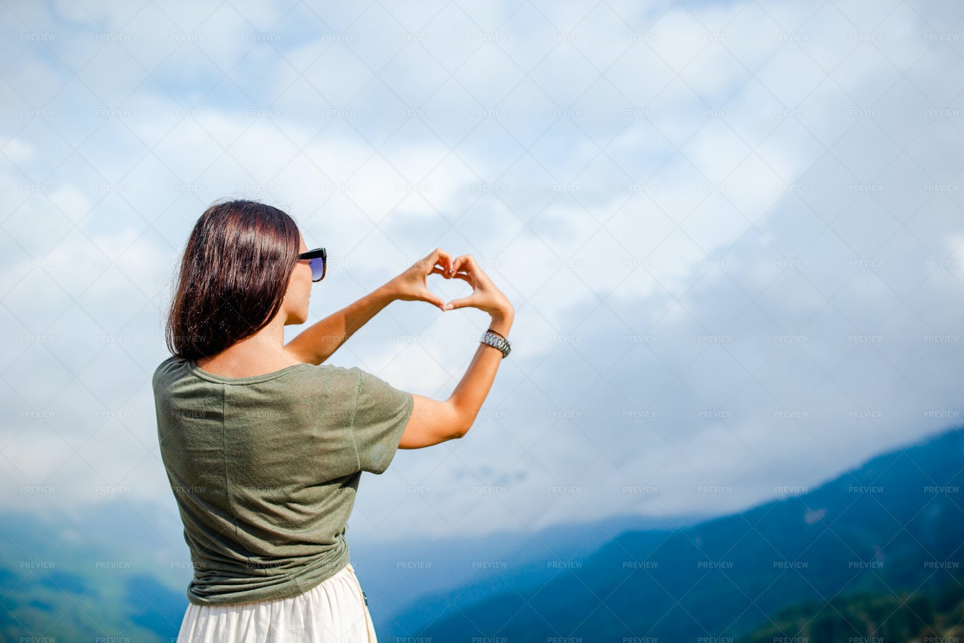 Heart Gesture To Mountains: Stock Photos