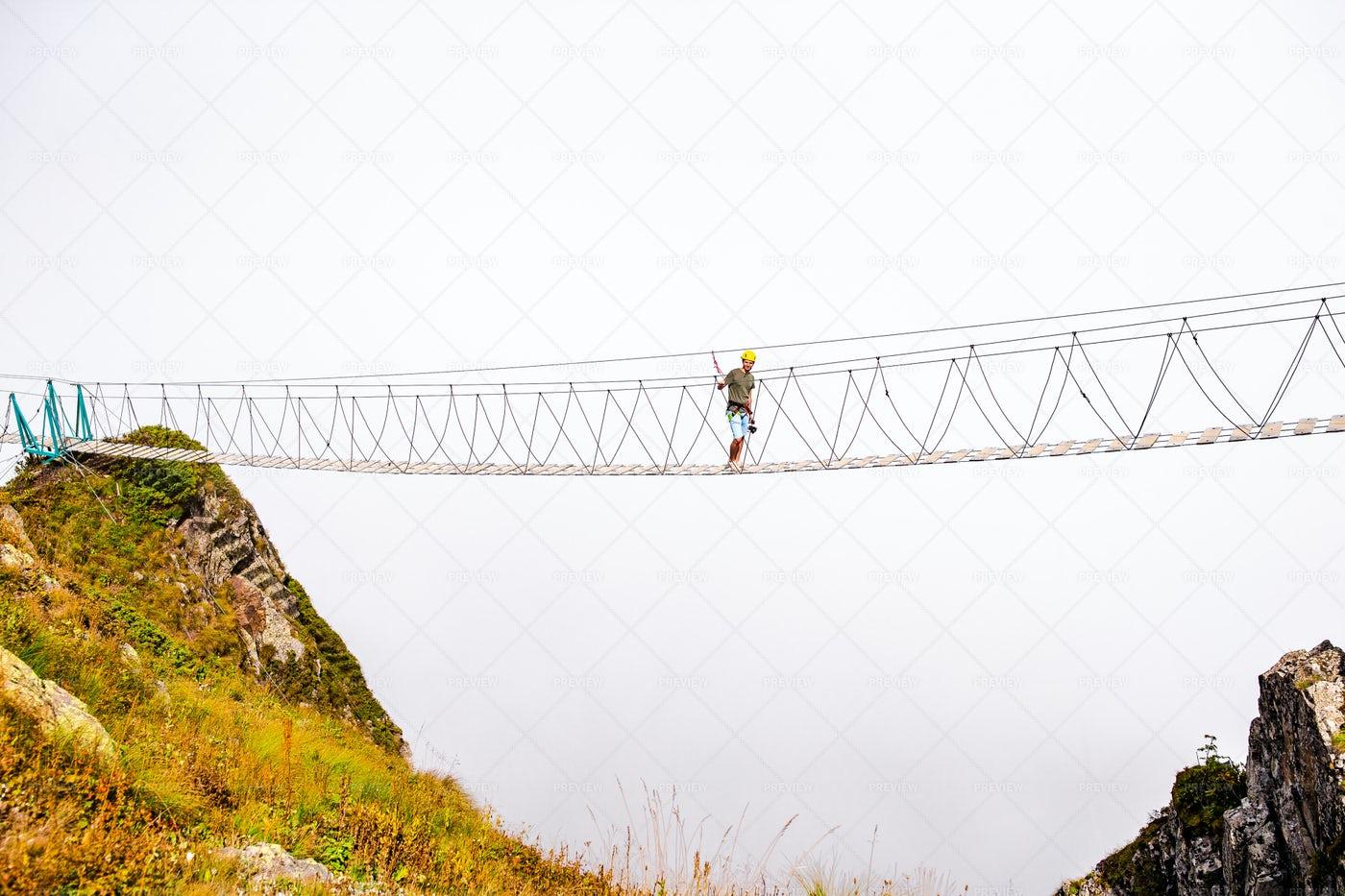 Crossing The Mountain Bridge: Stock Photos