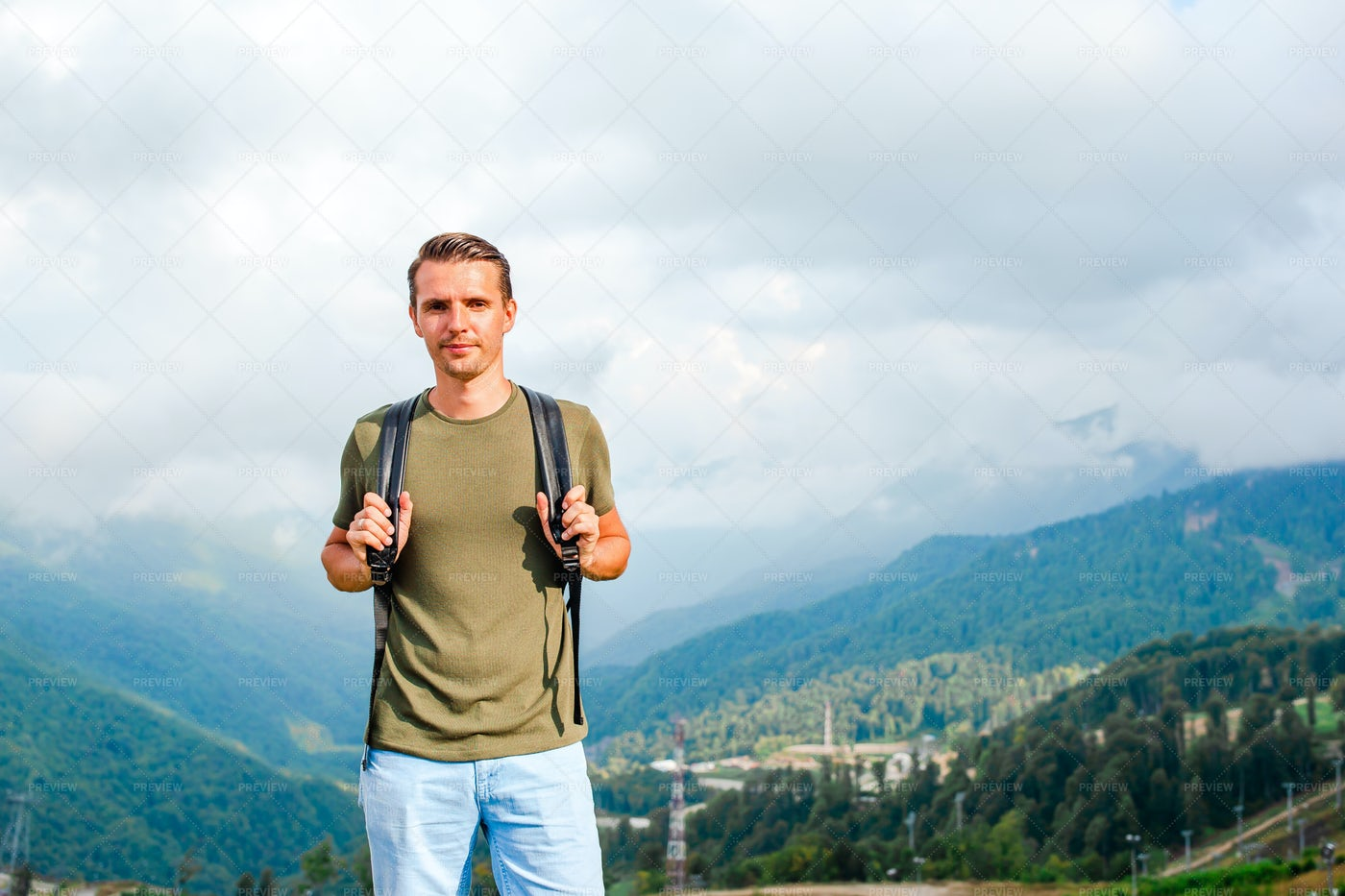 Hiker On The Mountains: Stock Photos