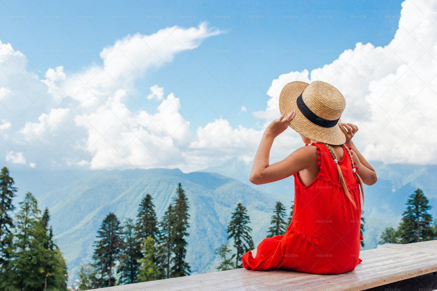 Sat On Mountain Balcony: Stock Photos
